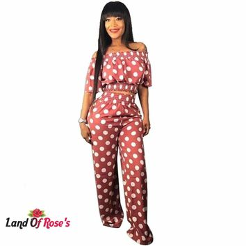 Plus-Size Polka Dot Print Two Piece Tracksuit Slash Neck Short Sleeve Crop Top