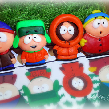 Polymer Clay, South Park, Fridge Magnet, Set of 4, Stan Marsh, Kenny McCormick, Kyle Broflovski, Eric Cartman, magnet, Gifts, clay character