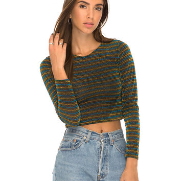 Bonnie Long Sleeve Crop in Blue Gold Sparkle Stripe by Motel