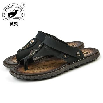 Size 38-44 2017 HUANGLING Summer High Quality Men Sandals Cow Leather Outdoor Casual Shoes for Men HL15868