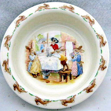 Royal Doulton Bunnykins 1980's Childs Vintage Bowl and Spoon