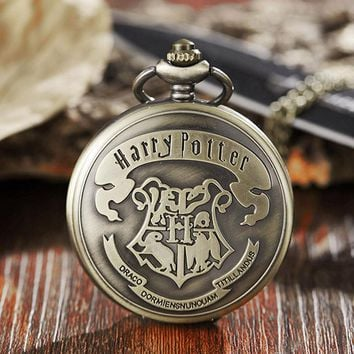 Vintage Harry Potter Hogwarts Pocket Watch Necklace Bronze Cute Fob Chain Clock Pendant For Children Boys Potter Fans' Gift