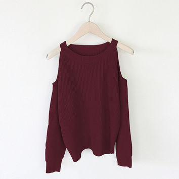 2016 Autumn Casual Off Shoulder Knitted Sweater Women Oversized Female Knitting Pullovers Neck Winter Kintwear Solid Wine Red