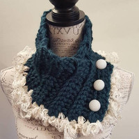 Crochet Teal and Cream button scarfie.  Glitter hints. Made by Bead Gs on ETSY. Teal