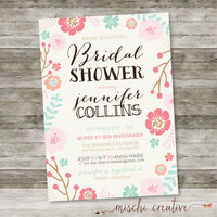"Vintage Chic Floral and Linen Feminine Bridal Shower DIY Printable Invitation, 5"" x 7"""