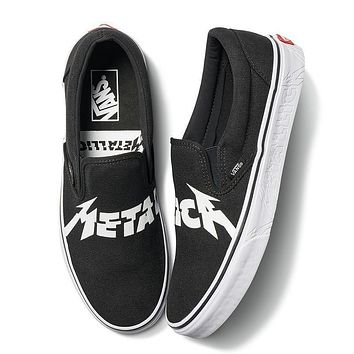 Metallica X Vans Classic Slip On Black White Sneaker Va38f7pzj