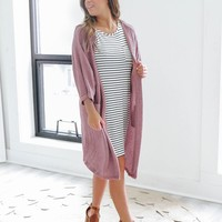 Coffee Break Cardigan - Mauve
