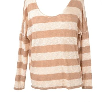 Scoop neck Stripe Sweater Top - Tan & Ivory