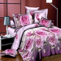 New Style White Red Flower 3D Bedding Set Of Duvet Cover Bed Sheet Pillowcase Bed Clothes Comforter