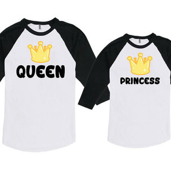 Mommy and Daughter Matching Shirts Mommy And Me Clothing Gifts For Mom Queen And Princess Bodysuit American Apparel Unisex Raglan MAT713-715