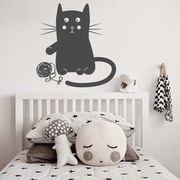 Wall Decor Vinyl Sticker Room Decal Cat Kitty Animal Nursery Kid Child Baby Play Mustache Tangle Clew Funny Cute (s170)