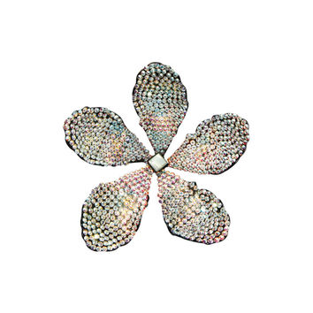 Rosie Assoulin Silver Crystal Flower Earring - Clip On Ear Piece