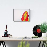 Pop Art illustration: Basset Hound, dog art, basset , pop art painting , original art , hand-signed, unique piece,