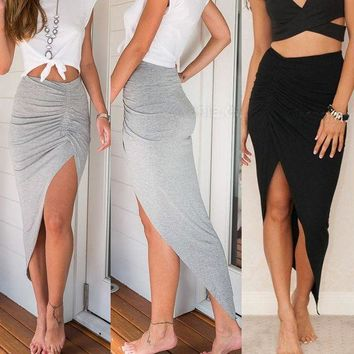 CREYON Ladies Ruched Side Split Slim Skinny Slit Maxi Long Pencil Skirt Day First