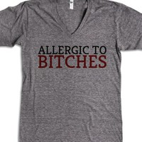 Allergic to Bitches-Unisex Athletic Grey T-Shirt