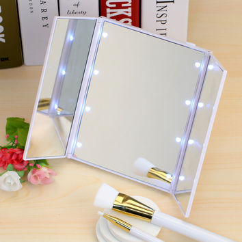 8 LED Light Makeup Cosmetic Tabletop Beauty Vanity Mirror 3 Folding Portable Adjustable Countertop Light Mirror New Design