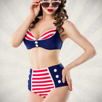 Navy Striped High Waist Bikini