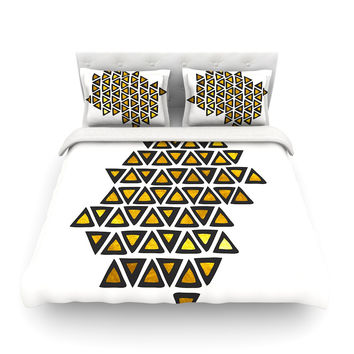 "Pom Graphic Design ""Inca Tribe"" Gold White Featherweight Duvet Cover"