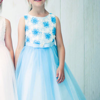 Aqua Blue Satin Floral Ribbons & Layered Tulle Dress (Girls Sizes 2T - 12)