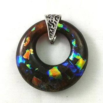 Sterling Silver Deep Amber and Rainbow Dichroic Handmade Art Glass Hoop Jewelry Pendant, Fall Gift