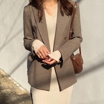 Vintage Double Breasted Plaid Blazer Long Sleeve Loose Houndstooth Office Ladies Suit Coat Jacket Women blazers
