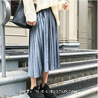 Autumn And Winter High Waisted Skinny Female Velvet Skirt Pleated Skirts Pleated Skirt