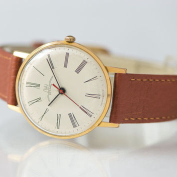 Ultra slim men's wristwatch, gold plated AU 20 gent's watch, classic wristwatch Ray, very good condition watch, premium leather strap new