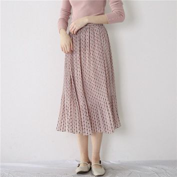 New Arrival Women Vintage Cute Florals Printed Chiffon midi skirts Pleated skirt High Waist Open Button Summer Skirts Clothes