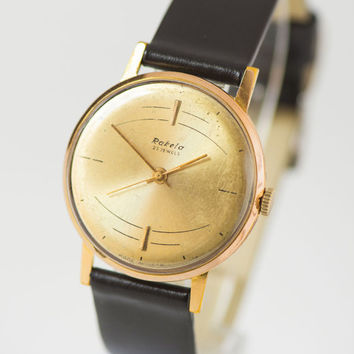 Rare Soviet men's watch Raketa Atom, gent's watch gold plated AU 20, slim retro watch, dress wristwatch, premium leather strap new