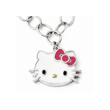 Sterling Silver Hello Kitty Enameled Pink Bow Collection Bracelet