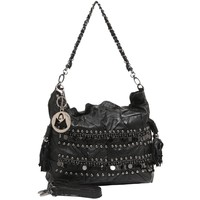 MG Collection BIJOU Black Studded Sequins Fringe Lamb Skin Leather Satchel Purse
