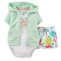 Carter's Tropical Hooded Cardigan Set - Baby Girl, Size: