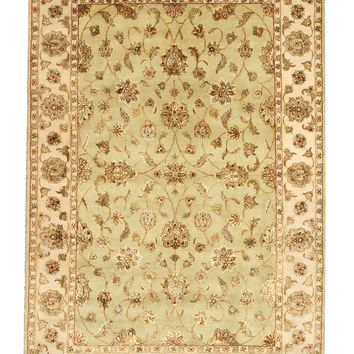 EORC Hand-knotted Wool & Silk Green Traditional Oriental Flower Jaipur Rug