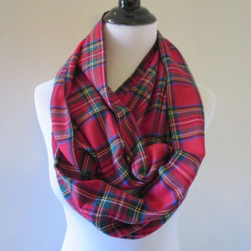 Tartan Plaid Scarf - Royal Stewart Plaid Scarf - Flannel Scarf - Red Plaid Scarf - Extra Long - Women's Scarf - Winter Scarf