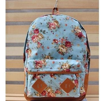 Anello Japan Floral Print Vintage Style Backpack Canvas School Bag