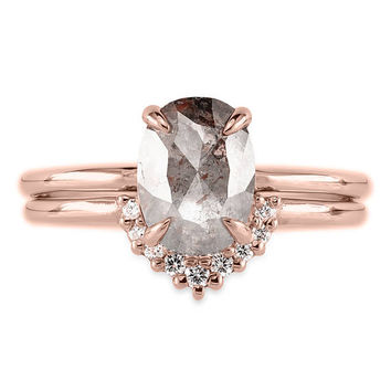 1.68 Carat Grey & Peach Rose Cut Oval Diamond Engagement Ring, Recycled 14k Rose Gold