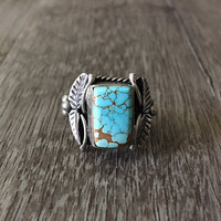 Vintage Native American Handmade Rectangle Blue Turquoise Ring in 925 Sterling Silver, US Size 7.5 (ring sizing available)