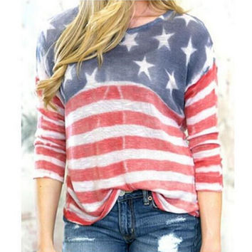 Autumn Winter Womens Loose Shirts Comfortable US Flag Gradient Top Gift 123