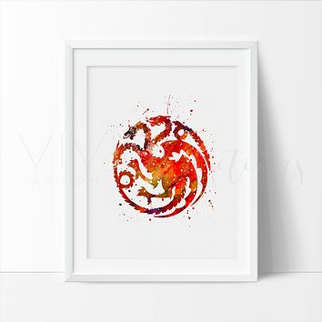 Game of Thrones, House Targaryen Watercolor Art Print