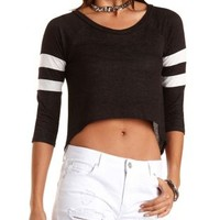Cropped High-Low Varsity Tee by Charlotte Russe