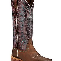 Ariat Vaquera Women's Khaki with Sunset Purple Double Welt Square Toe Western Boots