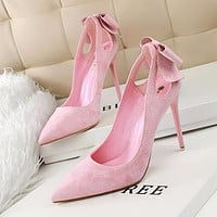 Cute Bow Thin High Heels Shoes Suede High-heeled