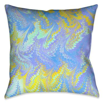 Bright Lavender Yellow Marble Decorative Pillow