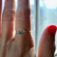 Peridot and Turquoise set of two stacking rings - custom made to order.
