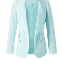 Jumpo Mint Green 4 Zip Blazer