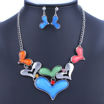 Heart Alloy Necklace and Earrings
