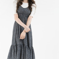 Floral Shirred Waist Sleeveless Midi Dress | mixxmix