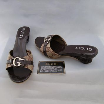 GUCCI Casual Women Low Heels Slipper Sandals Shoes