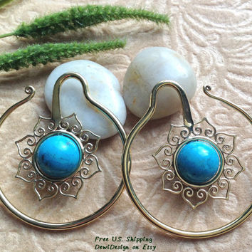 Ear Weights, Earrings For Stretched Lobes, 8 Gauge (3mm) Gauges, Brass, Turquoise, DewiDesign, Tribal