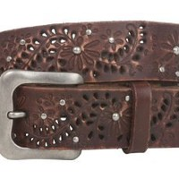 Amazon.com: Snap On Soft Hand Vintage Cowhide Full Grain Leather Foral Rivet Perforated Casual Belt Size: 30 Color: Brown: Clothing